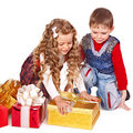 Kids with Christmas gift box. Stock Image