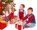 Kids with Christmas gift box. Royalty Free Stock Image