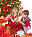 Kids with Christmas gift box. Royalty Free Stock Images