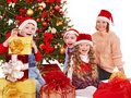 Kids with Christmas gift box. Stock Photography