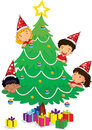 Kids at christmas illustration of a on a white background Royalty Free Stock Images