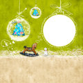 Kids christmas photoframe background with children and cute balls and blank space for writing congratulation cards Royalty Free Stock Image