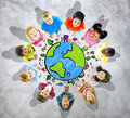 Kids is Circle with Global Map Royalty Free Stock Photo