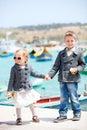 Kids in city near harbor Royalty Free Stock Image