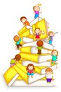 Kids Climbing in Stack of Book Stock Photography