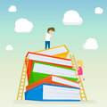 Kids climbing on stairs to the large stack of books. Illustration of kids education. Vector illustration.