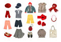 Kids clothes and accessories set Royalty Free Stock Photos