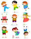 Kids collection of happy children in different positions Royalty Free Stock Photography