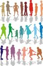 Kids color silhouettes Royalty Free Stock Image