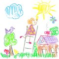 Kids colored world doodles illustration Royalty Free Stock Photos