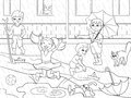 Kids coloring vector children playing in rainy weather