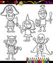 Kids in costumes set coloring page book or cartoon illustration of black and white cute little children characters ball Royalty Free Stock Photography