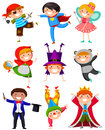 Kids in costumes set of wearing different Royalty Free Stock Images