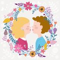 Kids couple kissing Stock Photography