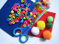 Kids craft items Royalty Free Stock Photography