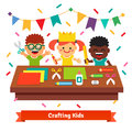Kids crafts in kindergarten. Creative children Royalty Free Stock Photo