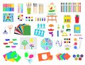 Themed kids creativity creation symbols poster in flat style with artistic objects for children art school fest unusual