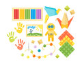 Kids creativity creation symbols vector set.