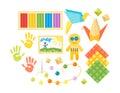 Kids creativity creation symbols vector set.