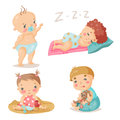 Kids cute babies in different situations. Colorful vector illustration. The baby is sleeping, playing in the sandbox and the tod