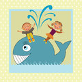 Kids dancing on whale Royalty Free Stock Image