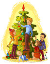 Kids decorating a christmas tree vector cartoon holiday art illustration Stock Images
