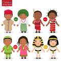 Kids in different traditional costumes. Nigeria, Kenya, South Africa, Egypt. Royalty Free Stock Photo