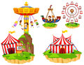 Kids on different types of rides at park Royalty Free Stock Photo