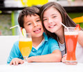 Kids at the diner Royalty Free Stock Photo
