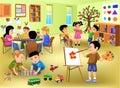 Kids doing different activities in kindergarten