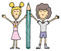 Kids drawing boy and girl holding big pencil cartoon illustration of a a Stock Photo