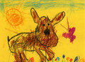 Kids drawing of a dog and butterfly Stock Photo