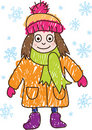 Kids Drawing. Girl in the winter Royalty Free Stock Photography