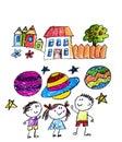 Kids drawing image. Space exploration. School, kindergarten illustration. Play and grow. Crayon image. Ufo, alien