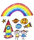 Kids drawing image. Space exploration. School, kindergarten illustration. Play and grow. Crayon image. Ufo, alien, spaceship,