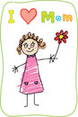 Kids Drawing. The Mother's Day. I love Mom Stock Image
