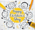 Kids Drawing and School Supplies to Celebrate Children`s Day, Vector Illustration