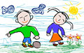 Kids drawing style of boy and girl happy happy eps file available Stock Images