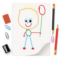 Kids' drawings Royalty Free Stock Photos