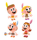 Kids dressed up as american indians set of four cute Stock Photo