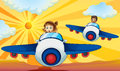 Kids driving aeroplane Stock Image