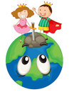 Kids on earth planet illustration of a a white background Royalty Free Stock Image