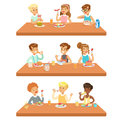 Kids Eating Brekfast And Lunch Food And Drinking Soft Drinks Set Of Cartoon Characters Enjoying Their Meal Sitting At