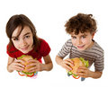 Kids eating healthy sandwiches Stock Image