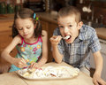 Kids eating ice cream Stock Photography