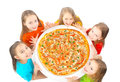 Kids eating pizza children big on white background Royalty Free Stock Photos