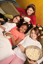 Kids Eating Popcorn Stock Images