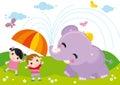 Kids and elephant