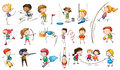 Kids engaging in different sports illustration of the on a white background Royalty Free Stock Images