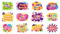 Kids entertainment badges. Game room party labels, children education and entertainment club elements. Baby playing zone Royalty Free Stock Photo